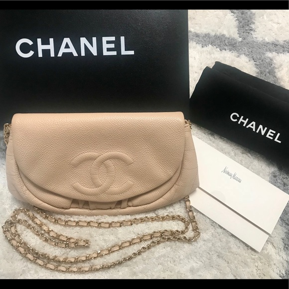 6b261b2a8c7d CHANEL Handbags - CHANEL Caviar Half Moon Wallet On Chain WOC Beige